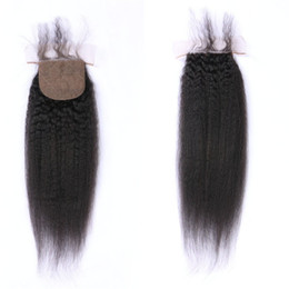 Discount part silk base closure straight - Virgin Hair Silk Base Closure Bleached Knots Natural Black Indian Kinky Straight Human Hair Closures Baby Hair Free Part
