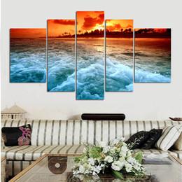 $enCountryForm.capitalKeyWord NZ - Home Modern Sunset beach Canvas Oil Painting HD Print Wall Art Decor for Living Room Home Decoration Framed Unframe