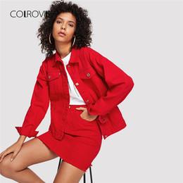 China COLROVIE Red Casual Button Denim Jacket Without Skirt 2018 Autumn Women Basic Jacket Long Sleeve Streetwear Girls Coat cheap long denim skirts women suppliers