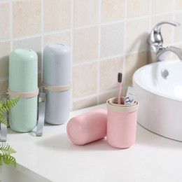 Clean Fiber Australia - Bamboo Fiber Toothbrush Cup Portable Toothpaste Comb Box Tooth Brush Holder Clean Storage Box Travel Cup Bathroom Accessories