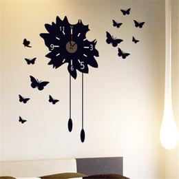 $enCountryForm.capitalKeyWord NZ - MENGXIANG Butterfly Flower 3d big wall clock rushed mirror wall sticker diy living room home decor fashion watches clocks