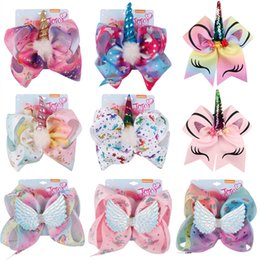 $enCountryForm.capitalKeyWord NZ - New 8 Inch Jojo Siwa Hair Bows Jojo Bows With Headband Clip For Baby Children Large Sequin Bow Unicorn hair Bows
