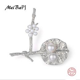 $enCountryForm.capitalKeyWord UK - [MeibaPJ]Real Natural Pearl Flower Brooch S925 Solid Silver Breastpin Fine Jewelry For women