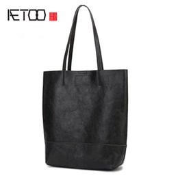 ead3c7c722e AETOO Leather handmade big bag female vertical version of the child tote bag  simple one shoulder commuter leather casual female