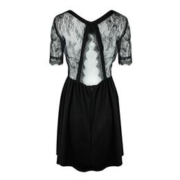 1275058cab8 Sexy Women Lace Splice Dress Short Sleeve Backless Back Cut Out Summer Dress  O-Neck Zip Party Club Mini Dresses Black Vestidos