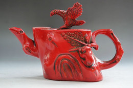 China Pole Australia - RARE CHINA HAND ENGRAVING COLLECTION RED CORAL SPREAD THE WINGS OLD EAGLE TEAPOT>>>Free shipping