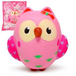 SquiShy donut keychain online shopping - Squishy cm Kawaii Gift Soft Pink owl Jumbo Squishy toy Cute Phone Straps Slow Rising Squishies Donut toy Keychain