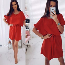 62a67855fb1 2018 Summer New Fashion Loose Dress Casual Bat Sleeve Ruffled Solid Ladies  Dresses O-Neck Belt Elegant Party Female Vestidos
