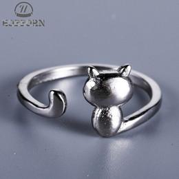 Simple Girls Ring Australia - 925 Sterling Sier Cute Cat Kitty Ring Korea Style Adjustable Anti-Allergy Simple Finger Rings For Girl Sterling Sier Jewelry