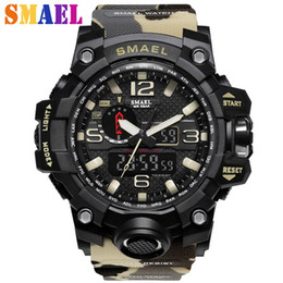 2018 brand new hot smael 50m waterproof mens watch high quality dual display multi function led sports digital electronic watch mens gifts - Electronic Christmas Gifts