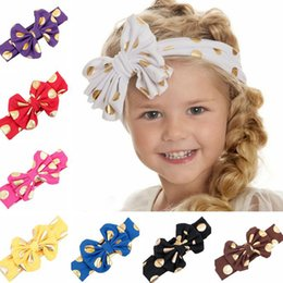 $enCountryForm.capitalKeyWord Canada - Children's Cotton Hair Band Fabric Dot Big Bow Knot Solid Baby Headband Girl Headband Hair Accessories 20pcs lot