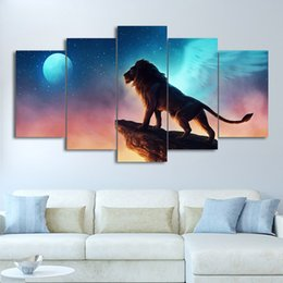$enCountryForm.capitalKeyWord Australia - Canvas HD Prints Posters 5 Pieces Lion On The Cliff Painting Modular Living Room Home Decor Wall Art Animal Pictures Framework
