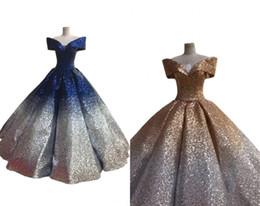Impresionantes vestidos de noche de graduación en azul marino y dorado Vestido con lentejuelas 2019 y manga corta con degradado Ombre Diseñador Vestidos de gala para mujeres Formal Pageant