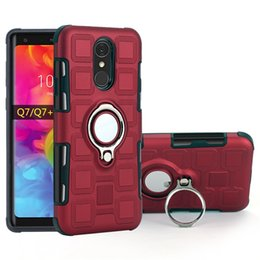 Q cube online shopping - Ice Cube Magnetic Kickstand ring cover particles Touch Feeling Hybrid car case for LG Q8 Q7 Q6 Plus Q Stylus V30 K10 K8 Slim Armor