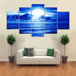 Art Canvas Prints Australia - Modular HD Wall Art Pictures Poster Calligraphy 5 Panel Blue Sea Landscape Canvas Painting Print Fresh Kitchen Home Decoration Frame