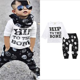 $enCountryForm.capitalKeyWord Australia - Autumn style baby boy clothes long sleeve newborn letter cotton fashion T-shirt + skull trousers children Clothing Sets