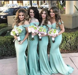 $enCountryForm.capitalKeyWord Australia - Off the Shoulder Lace Mermaid Bridesmaid Dresses 2017 New Mint Lace Top Maid Of Honor Gowns Summer Beach Wedding Guest Dresses Custom Made