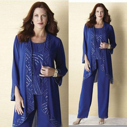 $enCountryForm.capitalKeyWord Australia - In Stock Blue 3 Piece Mother Of Bride Pant Suits Jewel Neckline Cheap Chiffon Wedding Guest Dress With Jacket Mothers Dresses