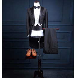 Discount grey tailcoat suit - Custom Made Mens three-piece Suits With Pants For Wedding Groom Slim Fit Costume Homme Mens Black Party Tuxedo Tailcoat