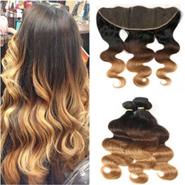 ombre human hair wefts NZ - #1B 4 27 Honey Blonde Ombre Brazilian Human Hair Wefts with 13x4 Lace Frontal Closure Body Wave Three Tone Ombre Hair Weaves 3Bundles