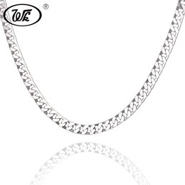 black figaro chain Australia - WK Flat Figaro Rapper Hip Hop Chain Male 925 Sterling Silver Boys Men Necklace Curb Hiphop Chains Jewelry 18 20 22 Inch W2 NM013 Y1892806