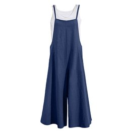 f5ee4129d8c 2018 New Fashion Women Cotton Wide Leg Jumpsuit Spaghetti Strap Solid  Sleeveless Strappy Romper Full Length Overalls Female