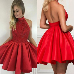 silver falls Australia - 2019 Fall Red Homecoming Dresses High Neck Sexy Open Back Satin Lace Red Short Prom Dresses With Beaded A Line Cocktail Gowns BA9627