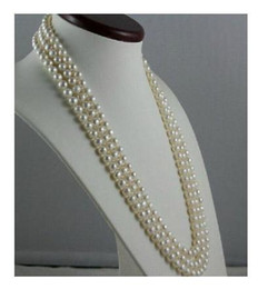 perfect gold alloys Australia - LONGER 60 INCH 8-9MM PERFECT NATURAL AKOYA GENUINE WHITE PEARL NECKLACE 14K GOLD