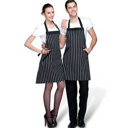Wholesale Fashion Men Women Kitchen Aprons Adjustable Black Stripe Bib Apron With Pockets Chef Kitchen Cook Tool