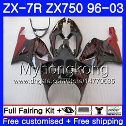 KawasaKi ninja 7r online shopping - Body For KAWASAKI NINJA ZX R ZX750 ZX7R HM ZX ZX R ZX ZX R factory Red flames Fairing