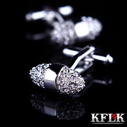 Mens Thanksgiving Shirt Canada - Kflk Jewelry Brand Silver Cuff Links Wholesale Buttons Luxury Wedding High Quality Shirt Cufflinks For Mens Sale Free Shipping 2pairs