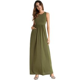 Wholesale hot summer long skirts resale online - 2018 spring and summer hot women s solid color Casual vest dress sexy long skirt beach dress