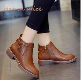 Back Zipper Boot NZ - Fashion European Style women Black Ankle Boots shoes Flats Round Toe Back Zipper Martin Boots PU Leather Woman Shoes With W341