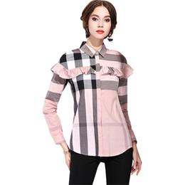 China Classic blusas femininas de 2018 Womens Tops And Blouses Ruffles Summer Fashion Casual Plaid Patchwork Blouses Shirts Coon cheap blusas femininas casual suppliers