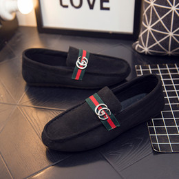 Handmade suede sHoes online shopping - Luxury Brand Loafers Men Handmade Green Red Striped Designer Metal Buckle Suede Leather Casual Flats Shoes Loafers Men Business Shoes L