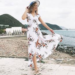 f39a843674 Summer Beach Long Dress 2018 Women Floral Print White Black Plus Size Maxi  Dresses Split Elegant Casual New Hot Sale Dress Lady