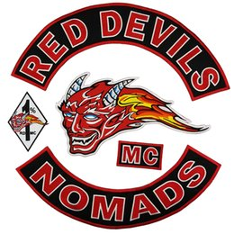 Bikers Back Patches Australia - Hot Sale RED DEVILS NOMADS Embroidery Patch MC Embroidered Full Back Large Pattern For Rocker Club Biker MC Patch Free Shipping