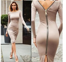 full length robe zipper NZ - Gamiss Bodycon Sheath Dress Long Sleeve Party Sexy Dresses Women Clothing Back Full Zipper Robe Sexy Pencil Tight Dress Vestidos
