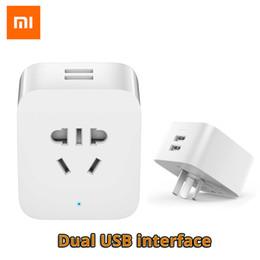 $enCountryForm.capitalKeyWord NZ - Cheap Smart Power Socket Plug Original Xiaomi Mi Smart Socket WiFi Plug Control Power Count Timer Switch Dual USB with AU US EU UK Adapter