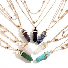 Gold prism online shopping - Fashion Multi layer Chain Mens Womens Created Gemstone Natural Stone Hexagonal Prism Pile Pendant Necklace Women D782S