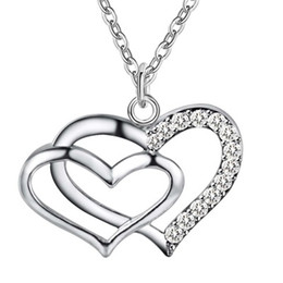 China Hot Sale Top Quality Romantic Forever Love Double Heart Inlaid Zircon Stone Pendant Silver Plated Jewelry with Chains Necklace CHKN106 supplier top romantic gift suppliers