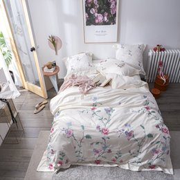 princess bedding set king size Canada - Floral Embroidery 100%Cotton Princess Pink White Bedding Set Queen King size Bed Duvet cover bed set Sheet Pillowcase