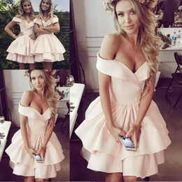 Discount short white prom dresses layers - Cheap Pale Pink Homecoming Dresses 2019 Elegant Off the Shoulders Short Cocktail Dresses with Layers Ruffles Skirt Short