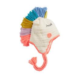 Fallen Hats Australia - Children Unicorn knit hat fashion kids colorful tassel hat baby boys cartoon modelling knitted hat fall winter kids braid ears bonnet F2405