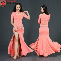 Chinese  2018 Top Fashion New Tribal Women Sexy Belly Dance Costume Suits Club Stage One-piece Long Dress For Oriental Clothes Colour 5 manufacturers