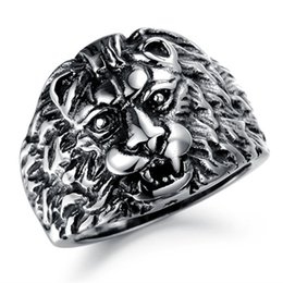 plates gift europe UK - Europe and the United States retro wind casting lion head ring men's personality domineering titanium steel ring punk retro ring jewelry