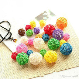 Crafts Party Supplies Wholesale NZ - Multicolor Rattan Balls For Birthday Party Wedding Decoration Novelty Straw Ball Christmas Home Hanging Ornament Craft Supplies 1yt5 cc