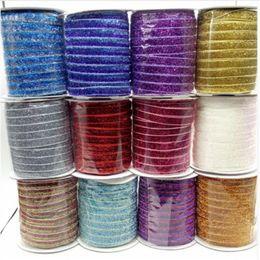Venta al por mayor de 50 yardas 35 colores Brillo Brillo metálico cinta de terciopelo Clips de la venda del arco del banquete de boda decoración de DIY ancho 10 mm
