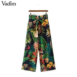 flared floral trousers Australia - Vadim vintage tropical floral leaf wide leg pants bow tie loose retro pattern pockets casual trousers pantalones mujer KZ955 S914