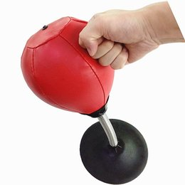 leather toys UK - Leather Stress Buster Desktop Punching Bag Heavy Duty Suction Freestanding Reflex Bag Kit For Adults Kids Home Office